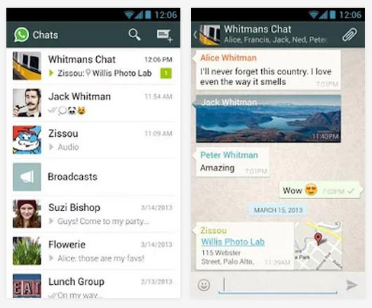 Schermate dell'app WhatsApp per Android