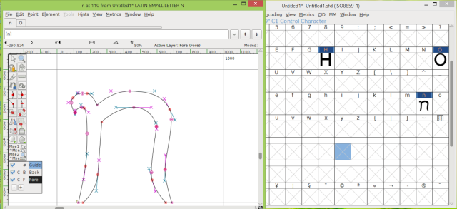 Schermata del programma FontForge per creare font