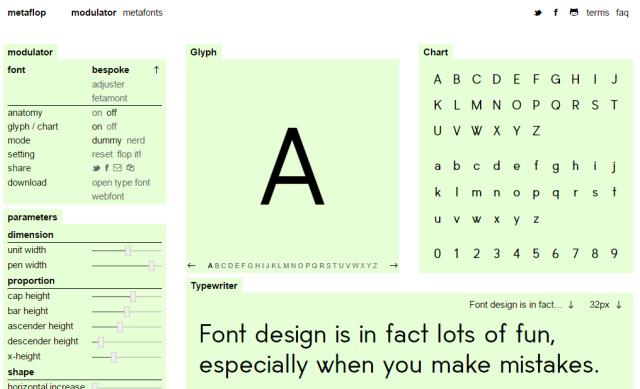 Schermata del programma Metaflop per creare font