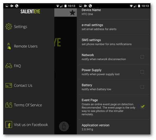 Schermata delle impostazioni dell'app Salient Eye per Android