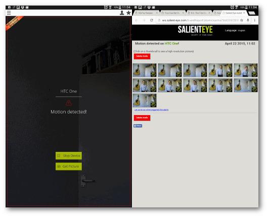 Schermata della telecamera di sicurezza creata con Salient Eye