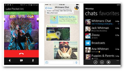 Schermate dell'app WhatsApp per telefonare gratis