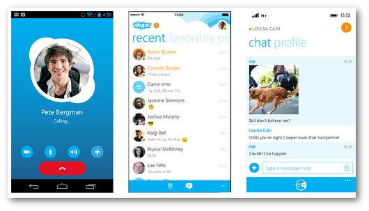 Schermate dell'app Skype per telefonare gratis