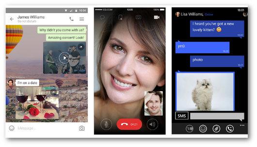 Schermate dell'app ICQ Messenger per telefonare gratis
