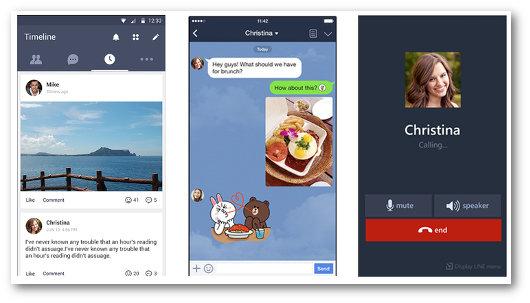 Schermate dell'app LINE per telefonare gratis