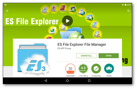 Schermata di installazione dell'app ES File Explorer per Android