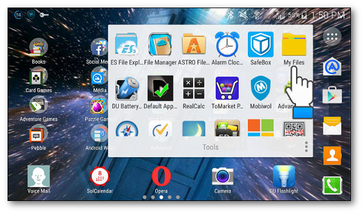 Avvio dell'app My Files presente su dispositivi Samsung
