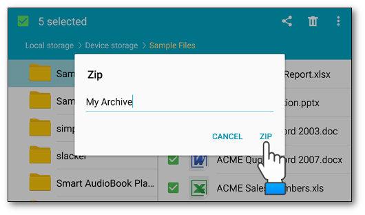 Pulsante ZIP per comprimere i file