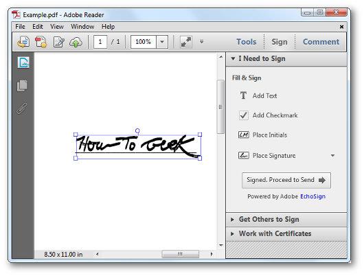 Schermata del programma per firmare PDF su Windows