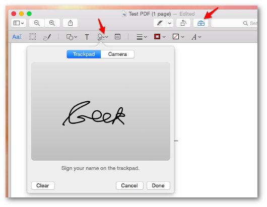 Schermata del programma per firmare PDF su Mac