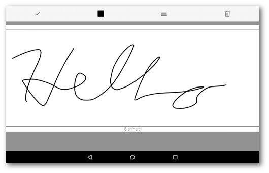 Schermata dell'app per firmare PDF su Android