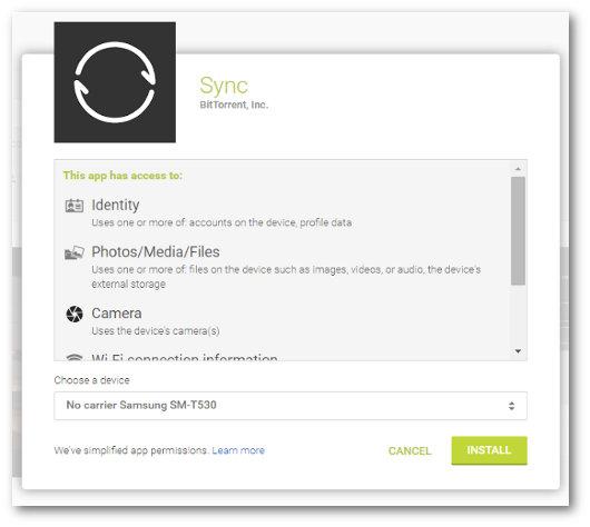 Schermata del programma BitTorrent Sync per PC