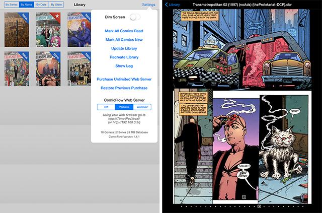 Schermate dell'app ComicFlow per leggere fumetti su iPad