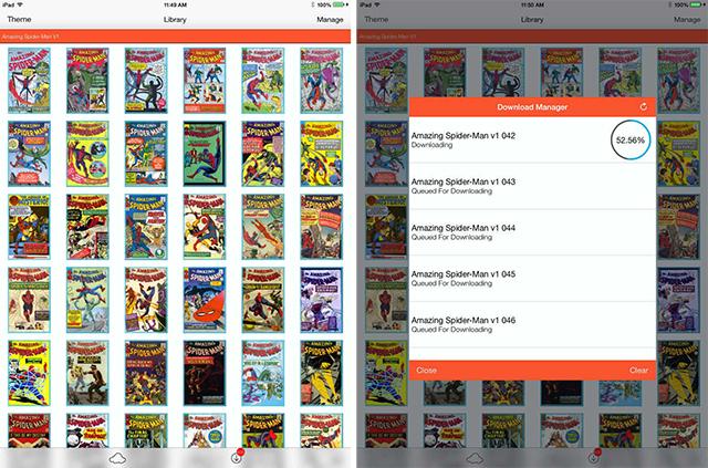 Schermate dell'app iComix per leggere fumetti su iPad