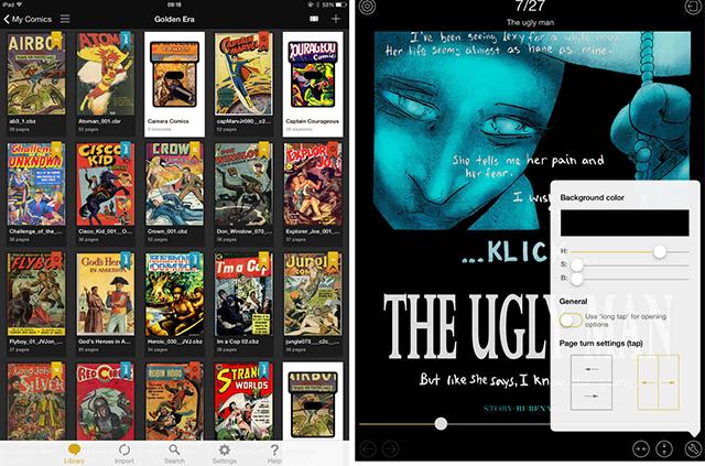 Schermate dell'app YACReader per leggere fumetti su iPad