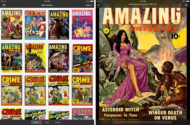 Schermate dell'app iComics per leggere fumetti su iPad