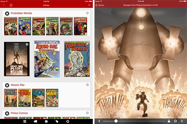 Schermate dell'app Comic Zeal per leggere fumetti su iPad
