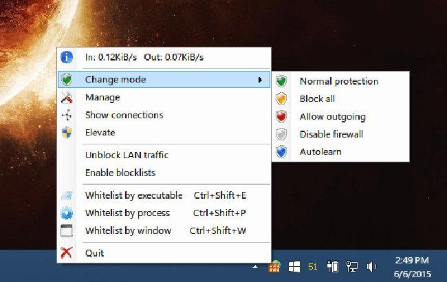 Schermata del firewall TinyWall