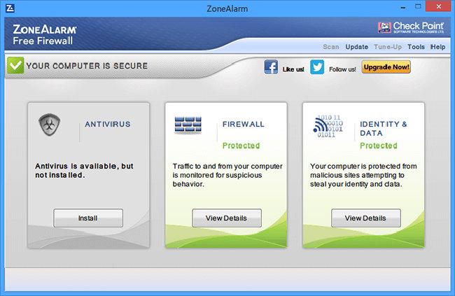 Schermata del firewall Zone Alarm