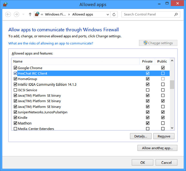 Schermata di Windows Firewall
