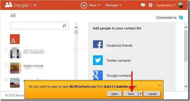 Salvare il file CSV con i contatti