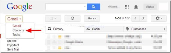 Selezionare contatti sull'account Google