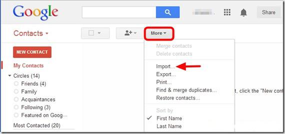 Pulsante per importare i contatti sull'account Google
