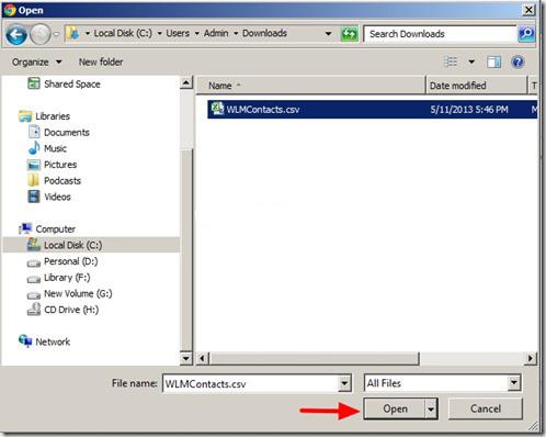 File CSV da importare