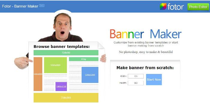 Immagine del sito Fotor – Banner Maker