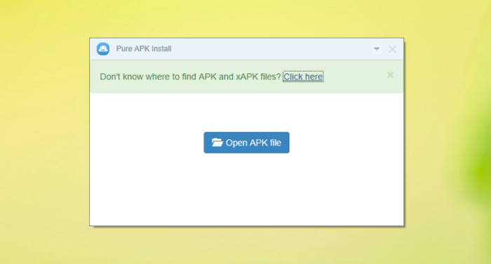 Schermata del programma Pure APK Install per trovare file APK