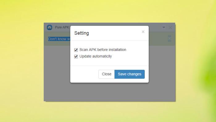 Schermata per selezionare la scansione del file APK