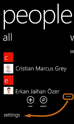 Accesso alle impostazioni di Windows Phone