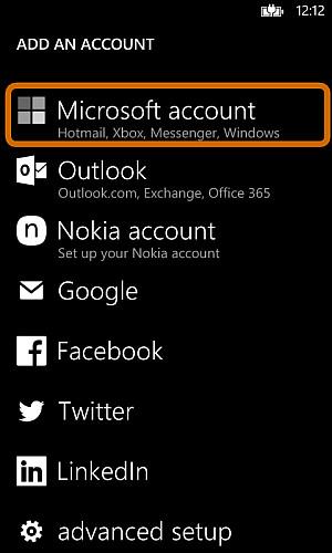 Selezione dell'account Microsoft