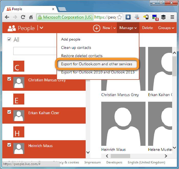 Pulsante per esportare i contatti in Outlook