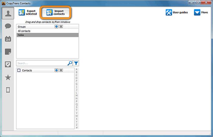 Schermata dell'applicazione CopyTrans Contacts