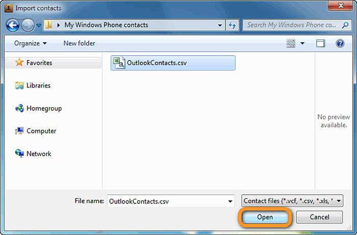 Selezione del file CSV da importare