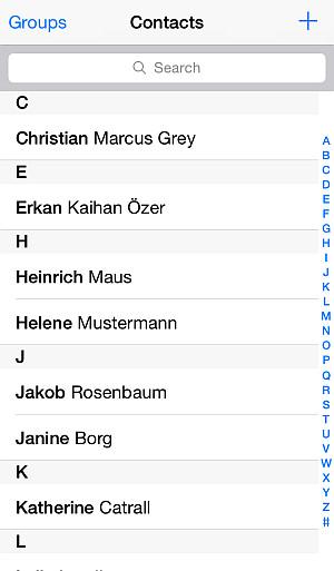 Schermata dei contatti importati su iPhone