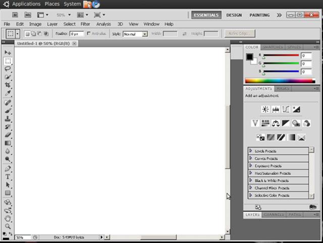 Schermata di Photoshop su Linux con Wine