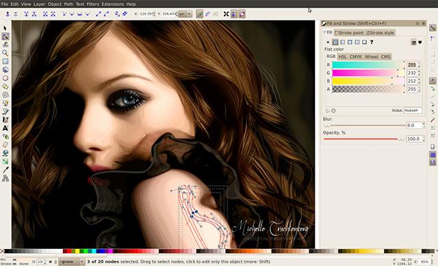 Schermata di Inkscape per Linux
