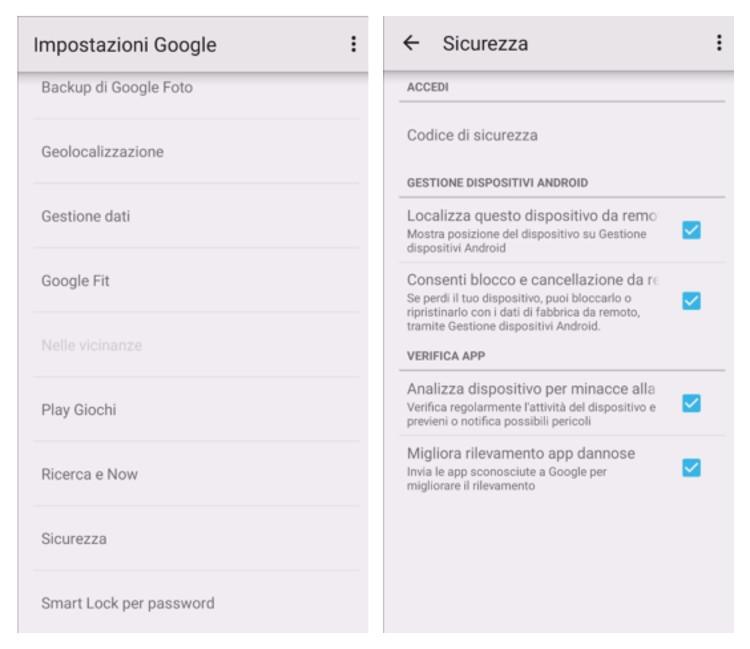 Opzioni per permettere la localizzazione del telefono Android