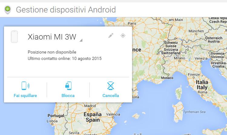 Schermata principale della gestione dispositivi Android