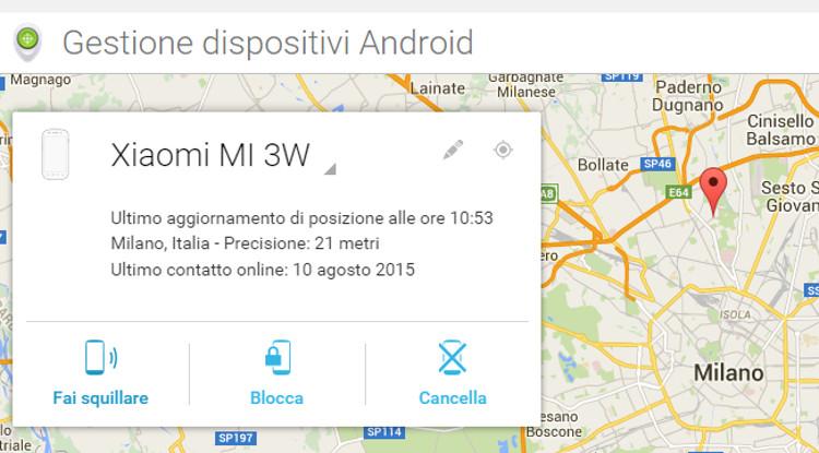 Posizione del telefono Android