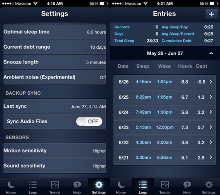 Schermate dell'app SleepBot per iPhone