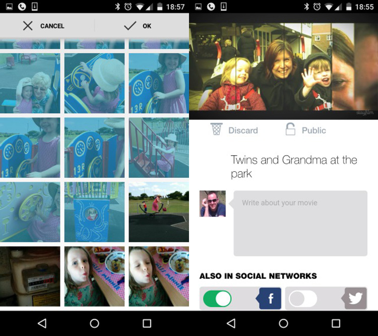 Schermate dell'app Stayfilm per Android