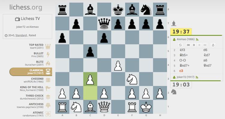Schermata del gioco Lichess