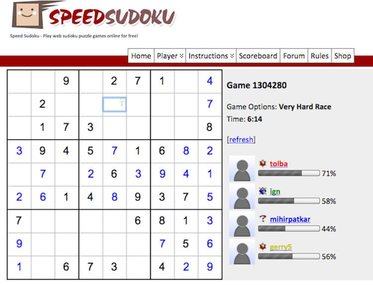 Schermata del gioco Speed Sudoku