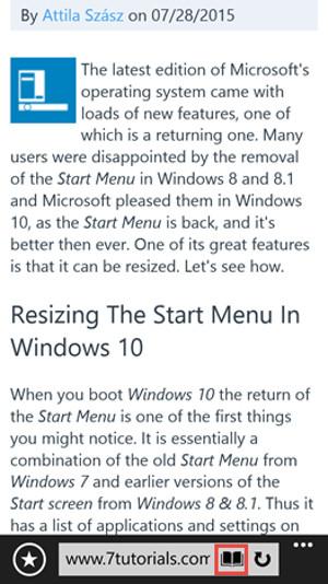 Schermata di Internet Explorer per Windows Phone