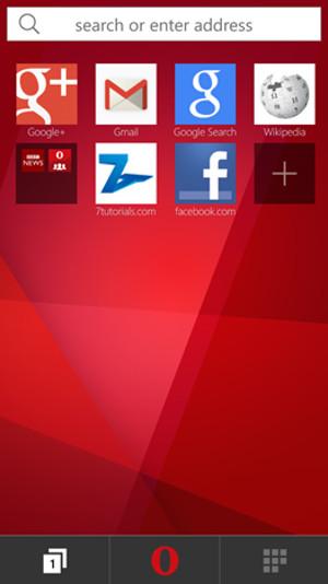 Schermata del browser Opera Mini per Windows Phone