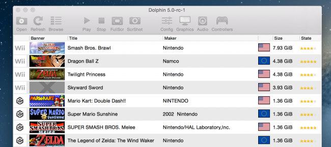 Schermata della lista dei giochi su Dolphin