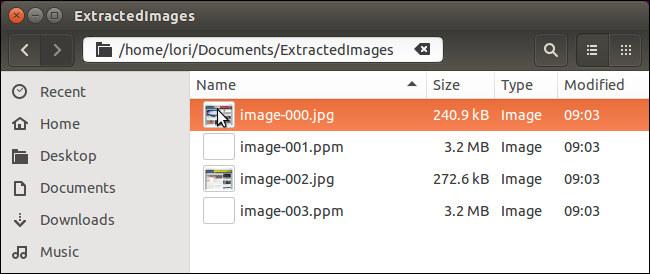 File delle Immagini salvate in formato JPG